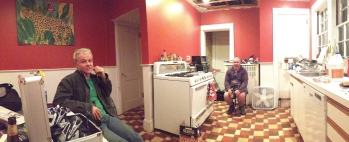 My kitchen cabinet, in the kitchen. Lannigan's. You can see from the ceiling that none of us can leave well alone. You can see from the form of the photo that I'm still enjoying the pano feature on my phone. I'll get over it eventually.