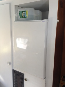 You know who else hooked us up? Matt, with this sweet fridge. No more storing cold-cuts on the roof!